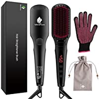 2 in 1 Ionic Hair Straightener Brush MCH Heating Hair Straightening Irons with Free Heat Resistant Glove and Temperature Lock Function