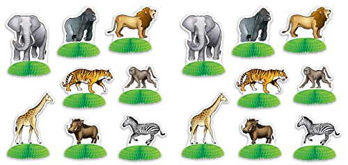Beistle 53374 Jungle Safari Animal Mini Centerpieces 16 Piece, 3