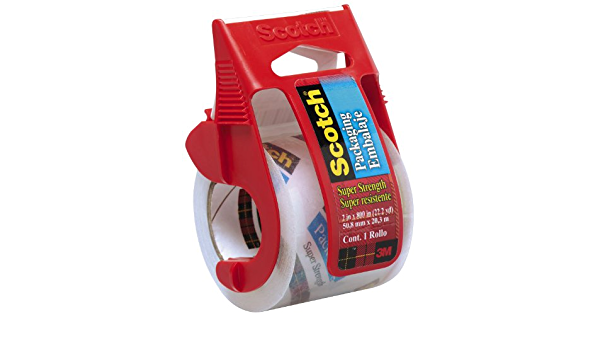 Scotch Packaging Tape 341 With Dispenser Clear 2in x 800in Packing Mailing 4-PK