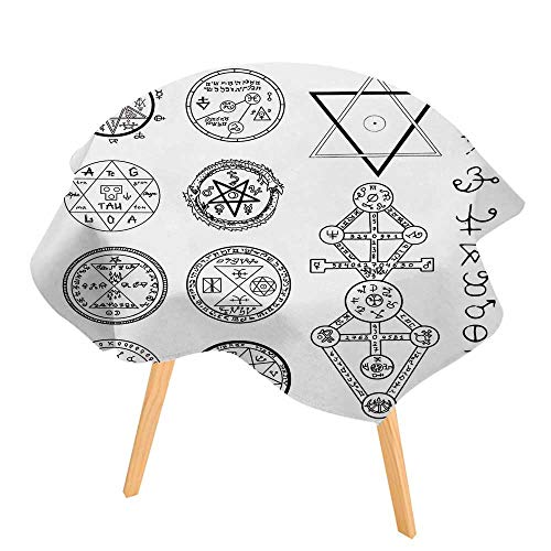 PINAFORE Spring & Summber Tablecloth Mystic with Magic Circles Pentagram and Symbols Halloween and Esoteric Concept for Outdoor or Indoor Use, BBQs 35.5