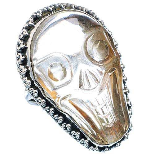 Huge White Quartz Skull Ring Size 9 (925 Sterling Silver) - Handmade Boho Vintage Jewelry RING930826 from Ana Silver