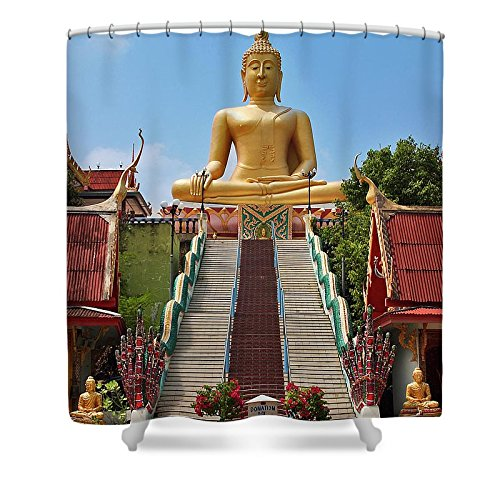 Pixels Shower Curtain (74'' x 71'') ''Sitting Buddha'' by Pixels