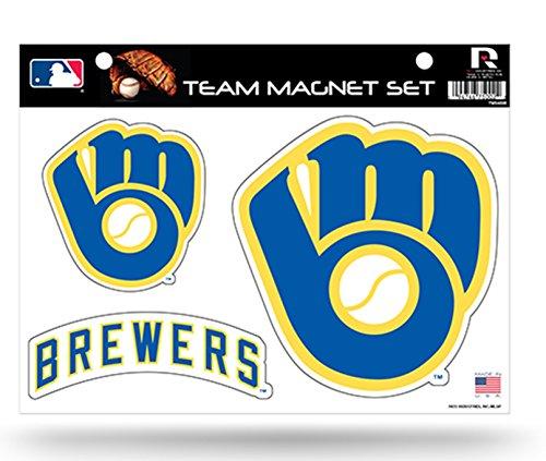 Rico MLB Milwaukee Brewers Team Magnet Set (Brewers Mlb Car Milwaukee)