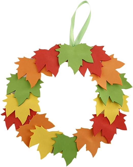 BESTOYARD 2pcs DIY Thanksgiving Craft Kit Maple Leaf Wreaths Hanging Autumn Fall Door Wreaths Decorations