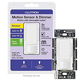 Lutron Maestro LED+ Motion Sensor Dimmer Switch   No Neutral Required   MSCL-OP153M-WH   White