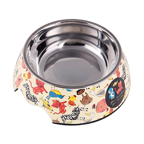 Melamine Dog Bowl (PetCee 2 Ways Dog Bowls Stainless Steel Dog Bowl Cat Pet Anti Slip Melamine Bowl Food Water Feeder Dog Containers(40 OZ))