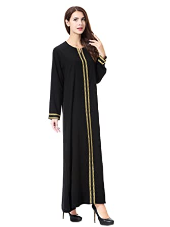 4c5ff3bf405 Amazon.com  AMLLY Muslim Kaftan Dubai Long Sleeve Dress For Women Islamic  Clothing Abaya Gown For Girls  Clothing