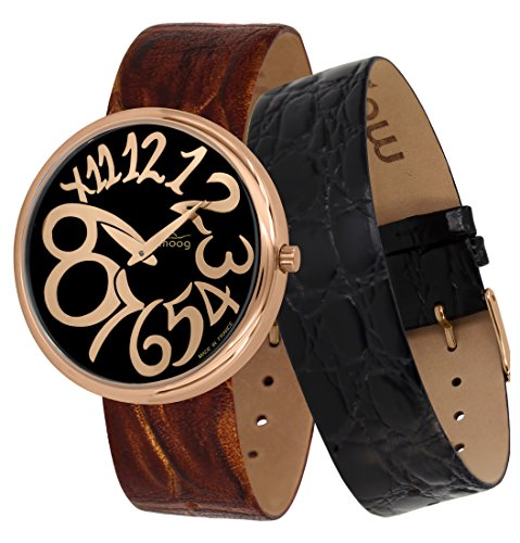 Moog Paris Ronde Art-Deco Women's Watch with Black & Rose Gold Dial, Brown Strap in Genuine Leather - M41672-E41 ()