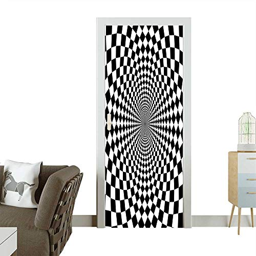 (Door Sticker Wall Decals White Optic Illusion Motif Zoom Minimalist Reflecting Symmetric Squares Artwork Black Whit Easy to Peel and StickW23.6 x H78.7 INCH)