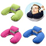 KINJOHI Travel Pillow Inflatable U Shape Neck Blow Up Cushion PVC Flocking Pillow for Camping and Traveling, with Storage Bag