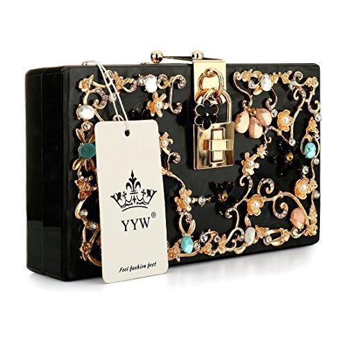 Pearl Clutches Bags Purses Flower Wedding Black Evening Beaded Handbag SfS1qx6H