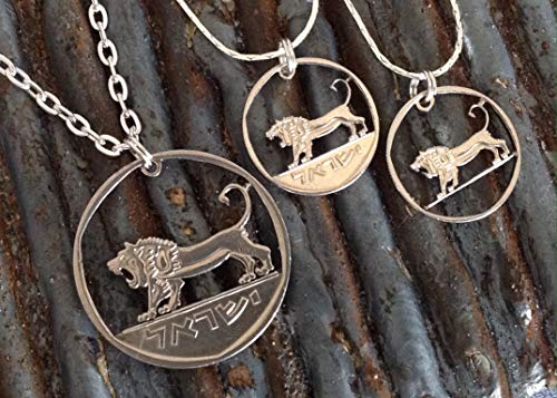 - Israel Lion Judah Cut Coin Jewelry Small ½ Shekel or Large 5 Lirot Coin - Hebrew Pendant Necklaces