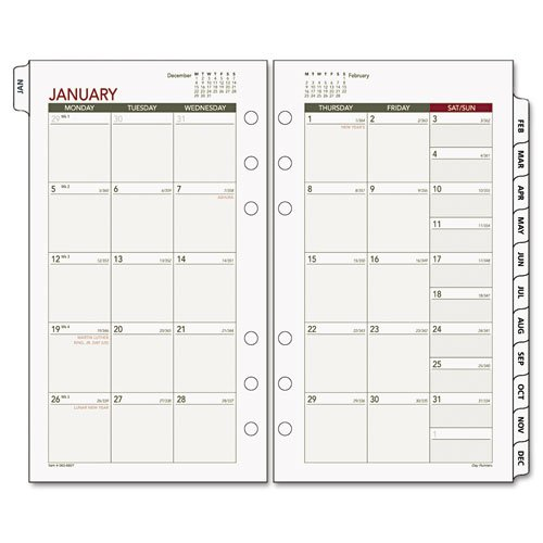 Day Runner Tabbed Mnthly Calendar, Jan/Dec,3-3/4