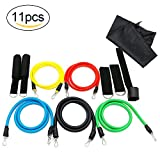 Camande 11pcs Resistance Band Set, with 5 Exercise Bands, Door Anchor, Foam Handles, Ankle Straps, for Resistance Training, Physical Therapy, Home Gyms Workouts Fitness Yoga