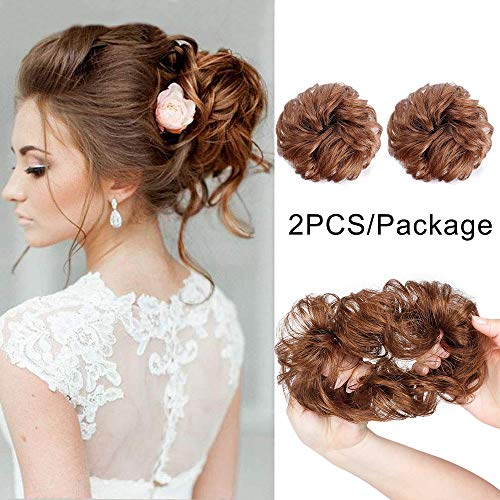 AISI QUEENS 100% Human Hair Bun Extensions 2PCS Curly Wavy Messy Bun Hair Extension Scrunchies Elegant Chignons Wedding Hair Piece for Women and Kids(Color:8# Linen Yellow Brown)