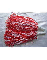 1 Pair PomPoms Cheerleading Hen party Fancy Dress Red & White