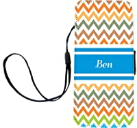 "Rikki Knight ""Ben"" Blue Chevron Name Flip Wallet iPhoneCase with Magnetic Flap for iPhone 5/5s - ""Ben"" Blue Chevron Name"