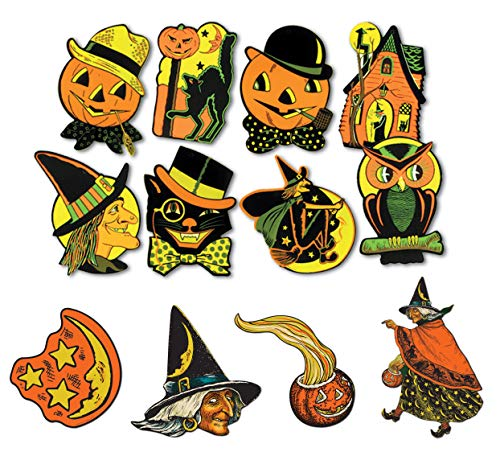 Vintage Halloween Decorations Pack 12 Different Cardstock Cutouts -
