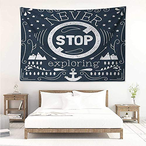 alisos Quote,Wall Decor Tapestry Anchor and Star Silhouette with Never Stop Exploring Slogan on Dark Backdrop 91W x 60L Inch Tapestry Wallpaper Home Decor Dark Blue and White