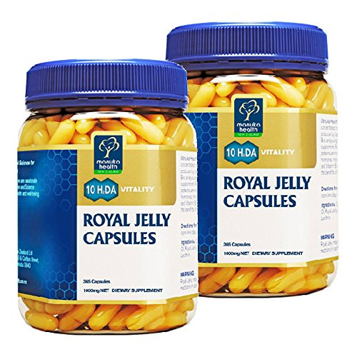Manuka Health 10hda Royal Jelly 1000mg 365 Capsules 100% Pure New Zealand Royal Jelly Immune System Booster & Supports Skin Health & Vitality (Pack of 2)