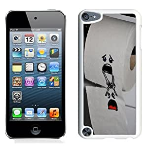 Fashion Custom Designed Cover Case For iPod Touch 5 Phone Case With Funny Toilet Paper Characters Falling_White Phone Case