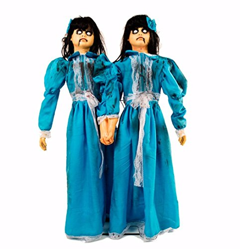 [Blue Antique Haunted Doll Evil Twins Animatronics 4 ft] (Zombie Baby Halloween Prop)