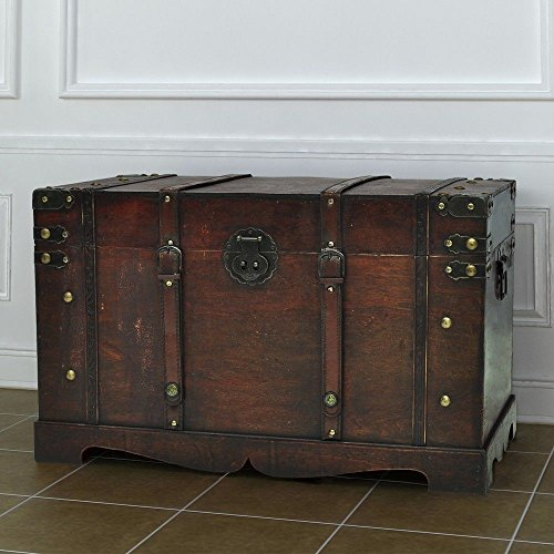 Vintage Antique Style Large Wooden Treasure Storage Trunk Blanket Steamer Chest