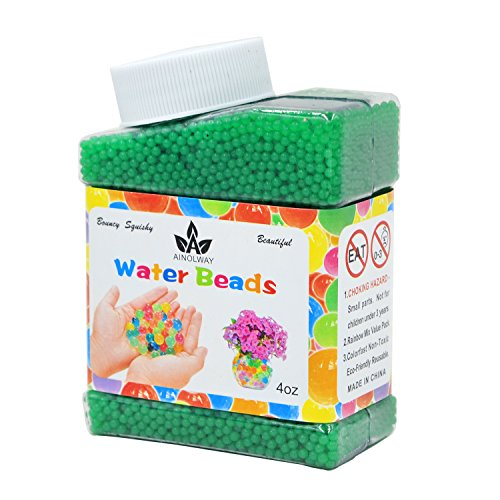 AINOLWAY High Elastic Water Beads Gel Pearls Jelly Crystal Soil for Vase Fillers 4oz Almost 15,000 Pcs (Green)