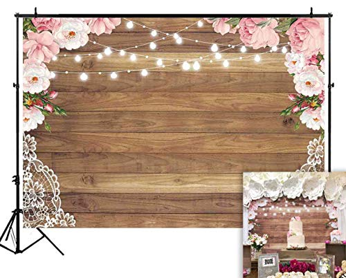 Funnytree 7X5ft Flowers Brown Wood Lace Backdrop Wedding Floral Photography Background Rustic Wooden Board Floor Bridal Shower Baby Birthday Party Banner Photo Studio Props