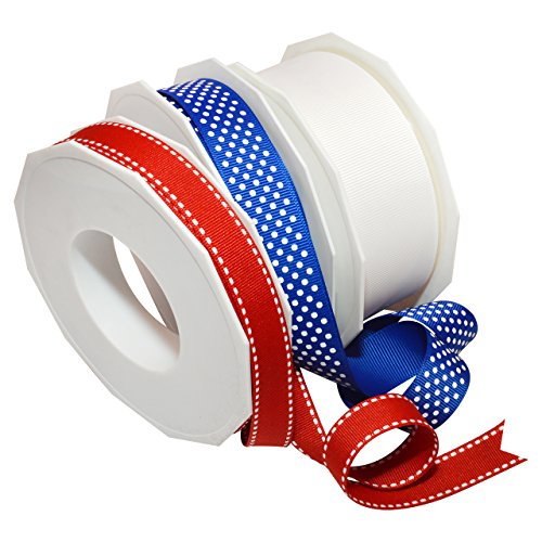 Morex Ribbon Patriotic Stitch and Dots 3-Pk, French Wired Polyester, Mixed Widths by 67 Yards Total, Red/White/Blue, Item 46440p3-914 (Wired Stitch)