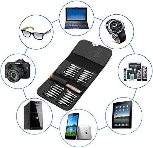 JOYKK 25 in 1 Präzisions-Torx-Schraubendreher-Handyreparatur-Werkzeugsatz für iPhone Laptop - Schwarz + Silber