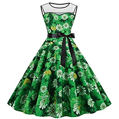 Muranba Womens St. Patrick's Day Shamrock Print Party Dress Mesh Splice Big Swing Sleeveless Colortul Sleeves Vintage