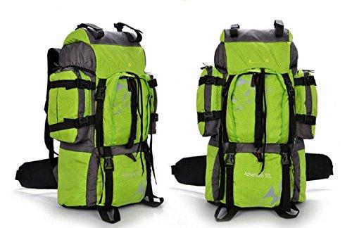 LQABW Hombres A Prueba De Agua 50L Al Aire Libre De Múltiples Funciones Y De Las Mujeres Soportan La Luz De Gran Capacidad De Alpinismo Que Va De Excursión Paquete,Green Green