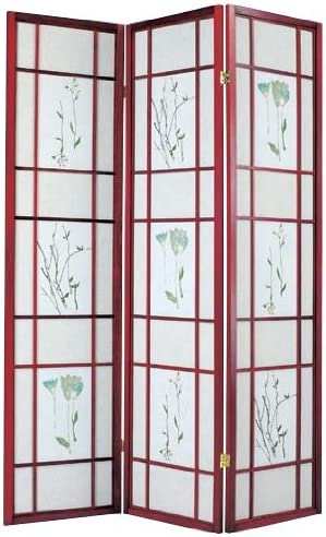 ACME 0 3-Panel Iola Wooden Screen, Cherry Finish