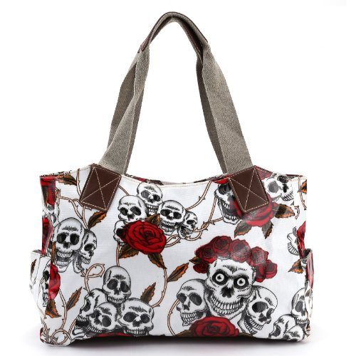 Cartoon Skull and Roses Oilcloth Shoulder Bag Canvas Strap Women ()