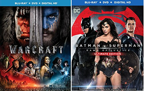 Batman V Superman  Dawn Of Justice  Ultimate Edition    Warcraft Double Feature Blu Ray Dvd 2 Movie Set