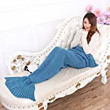 """Hughapy Latest Handmade Mermaid Tail Blanket Knitted Sleeping Bag Sofa Bed Snuggle Cozy for Adults Teens 7 colors,77""""x33""""(Lake Blue)"""