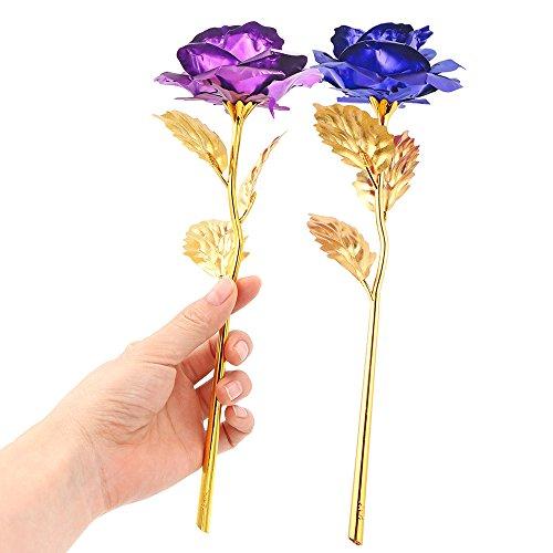 - Lemonbest 24K Gold Plated Rose Flower Creative Mother's Day Valentine's Day Gift (Purple+Blue)