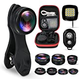 KobraTech 9 in 1 Cell Phone Camera Lens Kit - Phone Lens iPhone & Android - Super Wide Angle, Macro, Kaleidoscope, Telephoto, CPL, Fisheye Lens + Remote LED Light
