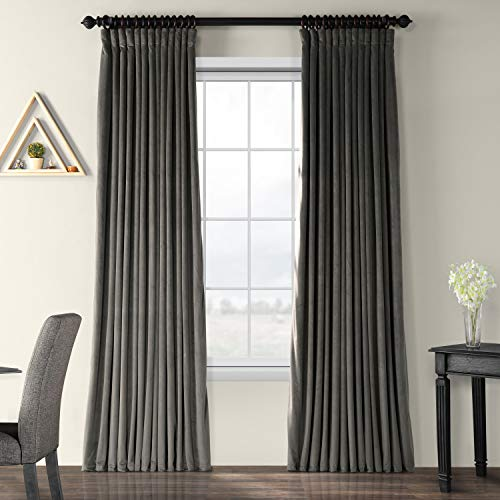 VPCH-VET1220-96 Signature Doublewide Blackout Velvet Curtain,Gunmetal Grey,100 X 96 from HPD Half Price Drapes