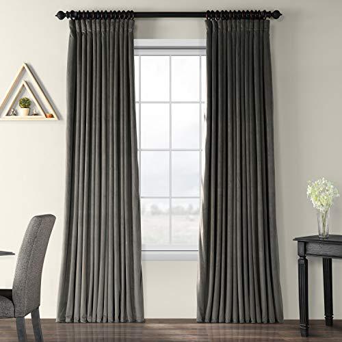 VPCH-VET1220-108 Signature Doublewide Blackout Velvet Curtain,Gunmetal Grey,100 X 108