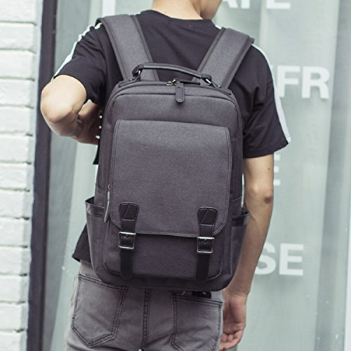 Backpack Bag Black Casual Travel Computer grey Simple Canvas wtfXqpR6t