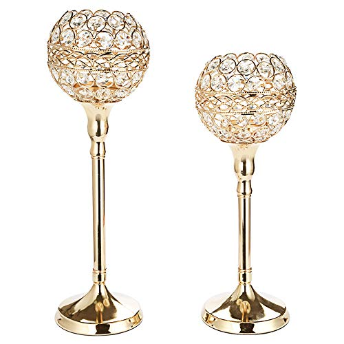 Anferstore Gold Crystal Candle Holders, Vintage Pattern Wedding Candle Holders for Dining Table Decorations,Mother's Day,Valentine's Day,House Gifts,Pack of 2 ()