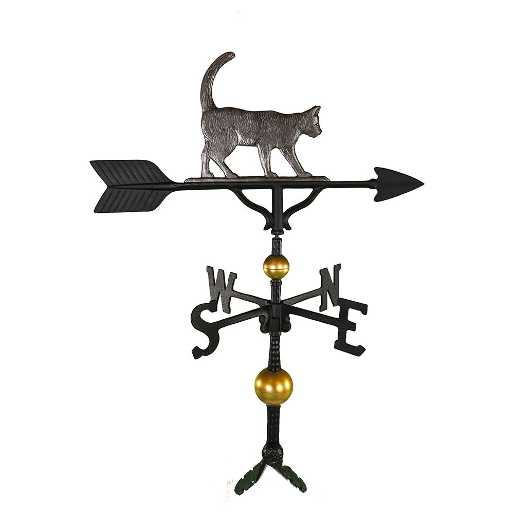 Montague Metal Products 32-Inch Deluxe Weathervane with Swedish Iron Cat Ornament