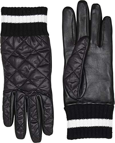 Gloves Nylon Striped (UGG Women's Varsity All Weather Water Resistant Tech Gloves Black Multi MD)