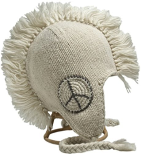 Nirvanna Designs CH82P Peace Mohawk Hat with Fleece, White