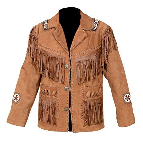 Fringed Mens Jacket - Scottish Designer Men's Western Suede Leather Brown Fringed & Bones Jacket (Large)