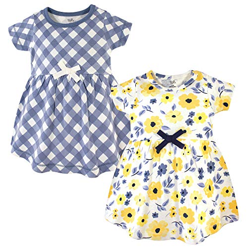 Girls Dresses 3 4 (Touched by Nature Baby Girls Organic Cotton Dresses, Yellow Garden Short Sleeve Pack, 3-6 Months)