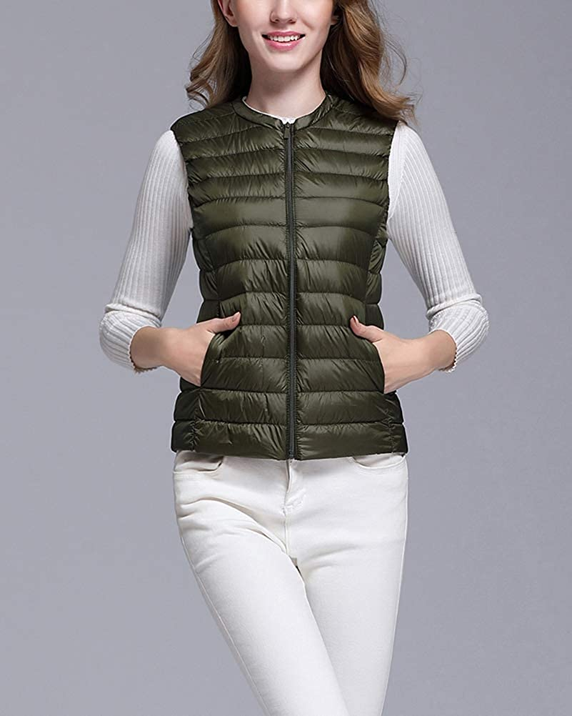 Giacche Piumino Senza Maniche Collo Rotondo Donna Ultra Leggero del Cappotto Packable Gilet