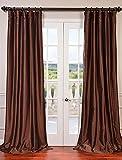 "Half Price Drapes PTCH-BO209-96 Copper Blackout Faux Silk Taffeta Curtain, 50"" x 96"", Brown"